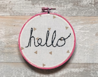 Hello Lettering on Canvas (4.5 in.) Hand Embroidered Art