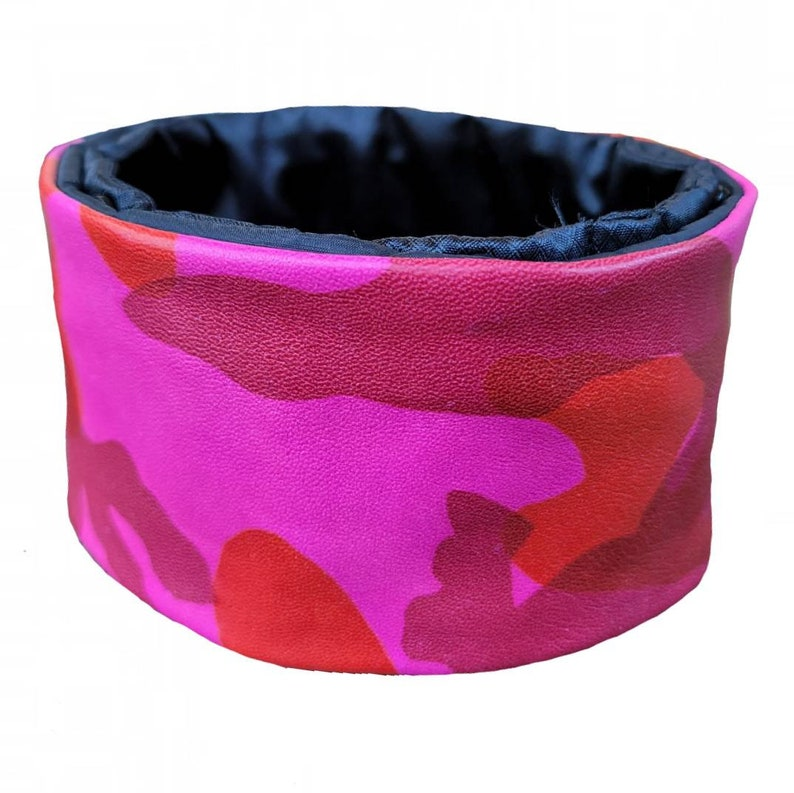 Satin-lined Poodle Collar -- Snap Topz by Boomerz Couture: Leather PINK-NESS De CAMO Hair-saver Collar