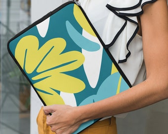 Nature's Particles I Laptop Sleeve   Tropical Teal and Yellow Graphic Pattern Soft Neoprene Laptop Case by BKZCREATIVE