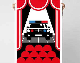 Debut Poster / Graphic Wall Art / Police Car on Stage Print by BKZCREATIVE