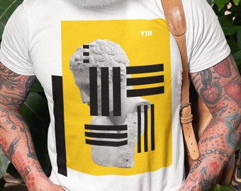 III Short-Sleeve Unisex T-Shirt   Pop Art Collection by BKZCREATIVE   Roman Marble Bust Sculpture Yellow and Black Graphic Print Tee