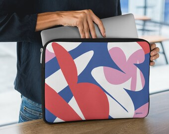 Nature's Particles II Laptop Sleeve   Tropical Pink, Red and Blue Graphic Pattern Soft Neoprene Laptop Case by BKZCREATIVE