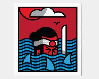 Lonely Samurai Poster / Japanese Graphic Wall Art / Oriental Kitsch Decor Print