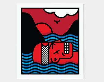 Samurai I Poster / Japanese Graphic Wall Art / Oriental Kitsch Decor Print