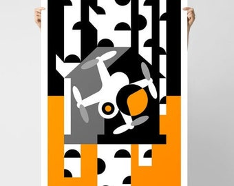 Drone in the Birdhouse Giclée Poster   Yellow And Black Trees and Drone Stencil Collection Print by BKZCREATIVE