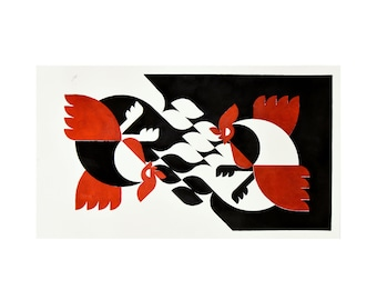 Farm Fighters Acrylic on Thick Paper Original Stencil Art   Handmade Designer Artwork   Luxury Graphic Design Interior Art