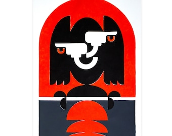The Watch Acrylic on Thick Paper Original Stencil Art   Handmade Designer Artwork   Luxury Graphic Design Interior Art