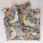 Australian Birds Tablerunner, Sulphur Crested Cockatoo Print, Designer Fabric