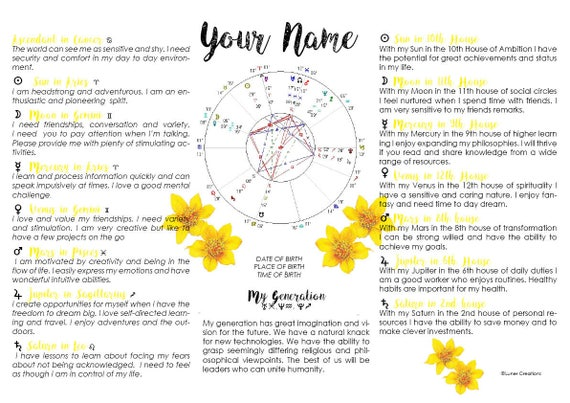 Items similar to Personalised Astrology Chart Yellow FLowers Design