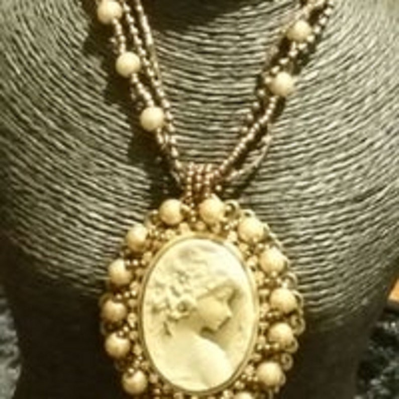 Beaded necklace with stone Cameo  pendant