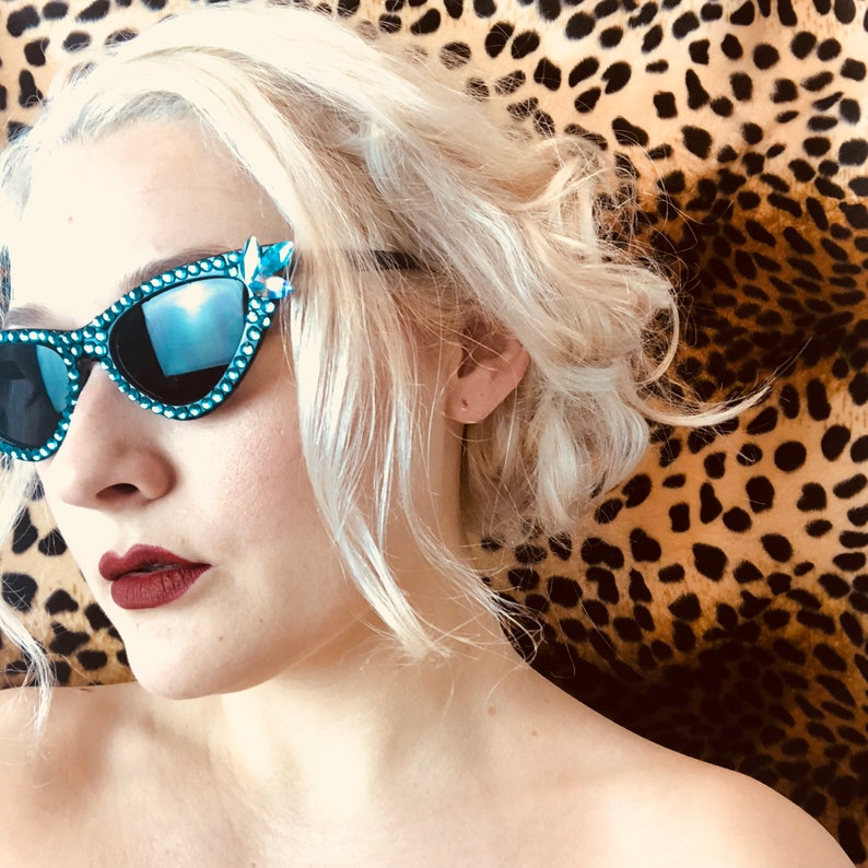 MyFriendRichard Signature Sunglasses in Turquoise // Rhinestone Sunglasses // Crystal Sunglasses // 1950s Sunglasses // Cats Eye Sunglasses