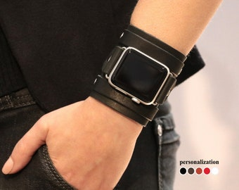 Leder Armband schwarz breit Arm Band