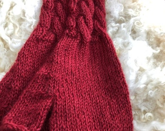 Hand knitted fingerless mitts in Wensleydale Wool