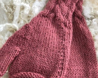 Hand knitted fingerless mitts hand knitted with Wensleydale  wool