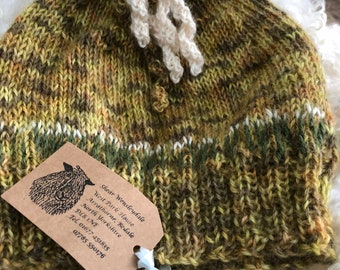 Hand dyed and knitted hat in Wensleydale wool