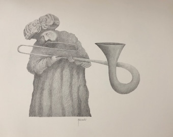Musician with trombone