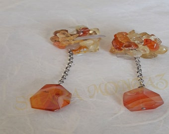 Shara-Earrings 925 sterling silver, Citrine and Carnelian. Exclusive.