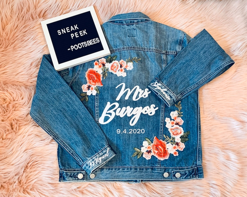 Bride Jean Jacket Engagement gift  bridal shower gift  bachelorette party  bride to be gift
