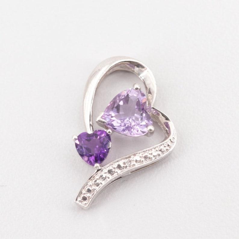Sterling Silver Amethyst /& Diamond Pendant