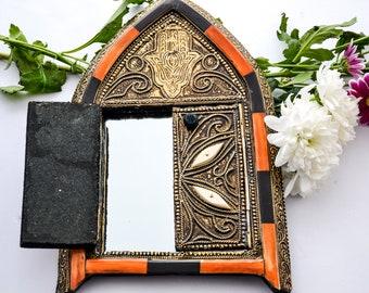 Ilyass Mirror, Morocco mirror, ethnic mirror, cow bone design mirror
