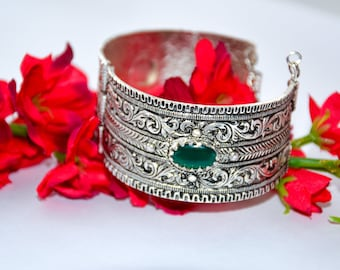 Farah Cuff, Arm cuff, silver bracelet, stone, bracelet, bangles