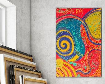 """Aborigines Malerei, Malerei Original 24 """"x 16"""" Spirale, Malerei, Malerei, Aborigine-Kunst, Volkskunst, Punkt, abstrakt, psychedelische"""