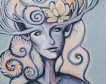 """Fee Schwanz Malerei, surreale Kunst verzaubern Wald Dekor 40 """"x 32"""" großes Ölgemälde, sanften Pastellfarben, Göttin Kunst, Frau Tier Porträt"""