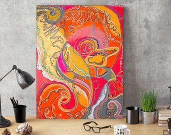 """Sea Shell Dot Art, Aborigine-Kunst, Kunst der Aborigines Dot, Aborigines Malerei, Malerei, Aborigine Punkt 8 """"x 14"""" Glow Originalvorlage"""