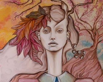 """Baum des Lebens, großes Ölgemälde, ungewöhnliche Wanddekoration Wandbilder Natur Frau Malerei, 28 """"x 40"""" Herbst Mädchen Malerei, sanften Pastell-Malerei"""
