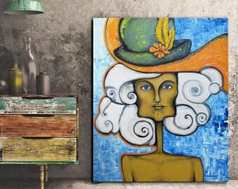 "Abstrakte Porträtmalerei, abstrakte Gesicht, Textur Malerei Frau 48 ""x 40"" extra große Gemälde, Gemälde, Öl Originalvorlage, surreal"