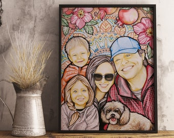 Family Portrait Painting Custom From Photo Birthday Gifts Artist Personalised Gift Ideas