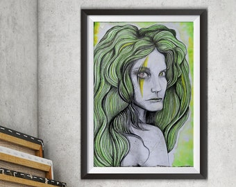 Original Gemälde, wilde Frau, Portrait Malerei, frauenportrait, grüne Gemälde, Fantasy, eigenartig, zeitgenössische Kunst, Kunst, Göttin Kunst