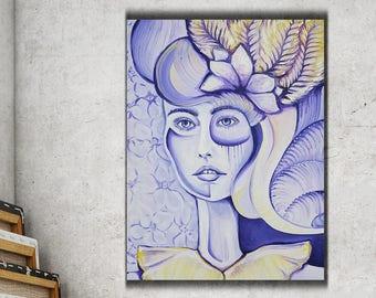 "Abstrakte Porträtmalerei, Original Art-Nouveau-Frau Malerei 25 ""x 19"" Göttin Malerei, Lady, Girl, Venus, Art-Deco-Malerei - gerahmt"