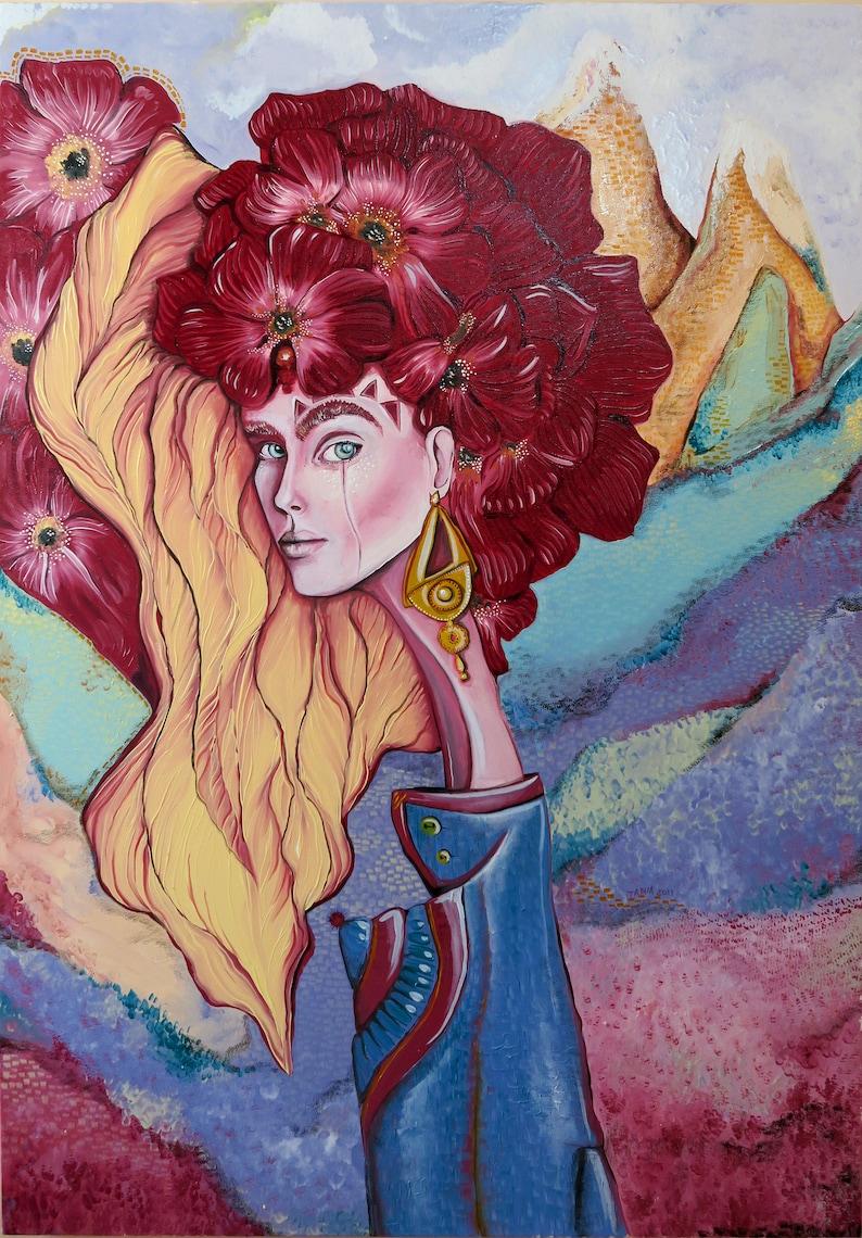 Flower warrior princess Painting, original oil painting 28