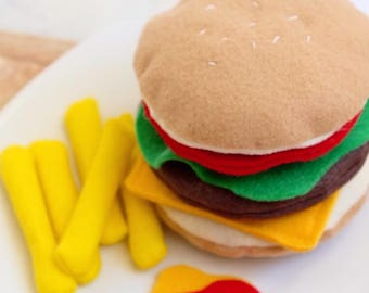 Felt Hamburger! Bun, tomato, lettuce, burger patty, cheese - pretend play food - American food, Cheeseburger, Buger
