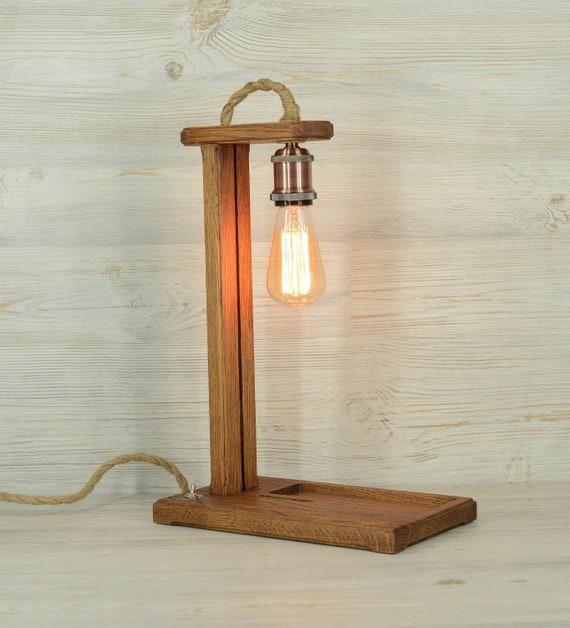 Wooden Loft Lamp Edison Lamp Wooden Light Wooden Desk Lamp Table Lamp Designer Table Lamp Table Organizer Wooden Gift Gallows