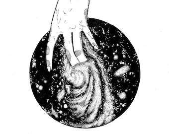 Touching space Illustration/Tattoodesign/Fineliner