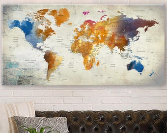 Colorful world map etsy colorful world map canvas push pin travel map large wall decor home decor home gift office decor living room decor world map wall art gumiabroncs Gallery