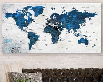 World map canvas etsy world map canvas push pin travel map navy blue world map large canvas gumiabroncs Image collections