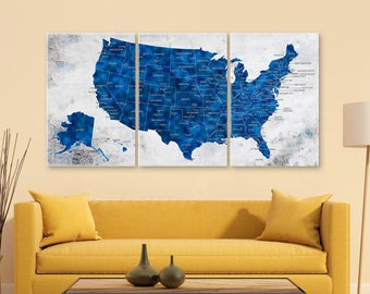 US Map Wall Art, Push Pin Travel US Map, Blue United States Map, Home Gift,  Office Decor, Living Room Decor, US Map Canvas, Us Map Wall Art