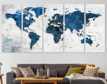 Blue world map etsy large world map decor push pin travel map world map canvas navy blue world map living room decor home gift office decor wall decor gumiabroncs Gallery