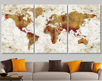 world map canvas world map wall decor push pin travel map large world