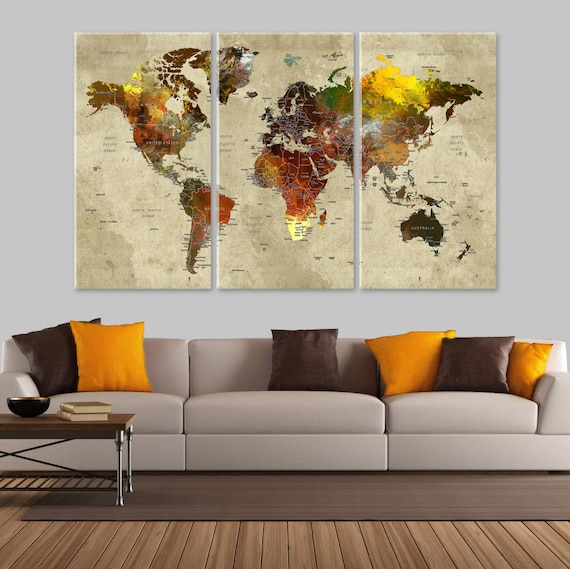 Large World Map Canvas, Push Pin Travel World Map, Autumn Colors Map,  Wanderlust Wall Decor, Adventure World Map, Wanderlust World Map