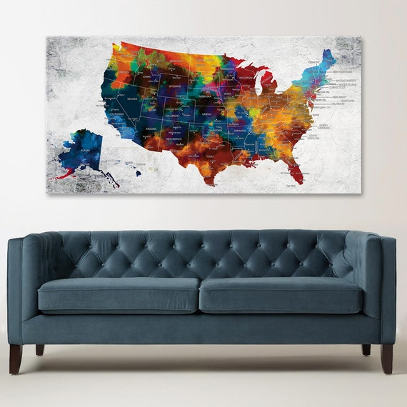 United States Map Canvas Wall Art.Us Map Canvas Wall Art Push Pin Travel Map Colorful United Etsy