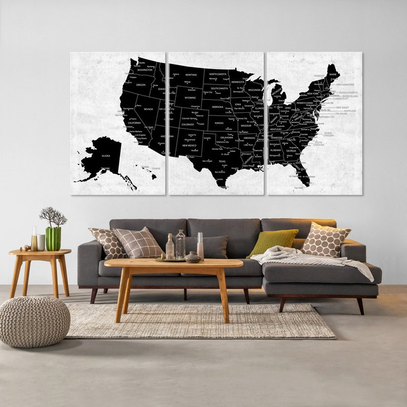 US Map Canvas Wall Art, Black & White Adventure Push Pin Travel Map, Home  or Office Decor, The US Map With Capitals and Big Cities