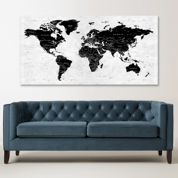 World Map Canvas Push Pin Travel Map Black And White World Etsy