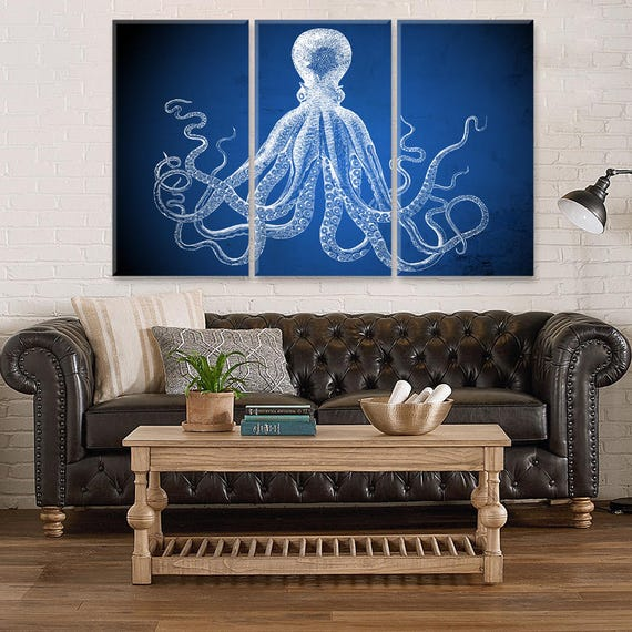 Navy Blue Octopus Canvas Wall Decor, Large Canvas Home, Office, Living Room  Decor, Octopus Wall Art