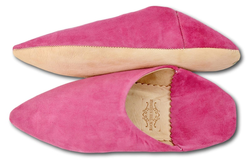 Mules Moroccan Pink Suede Pointed Babouche Pink Slippers Womans Babouche Handmade. Organic Suede Moroccan Slippers Sheepskin Slippers