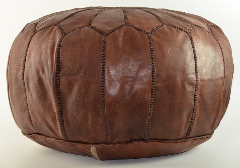 Leather Footstool Dark Brown Pouffe Brown Stitching. Handmade Moroccan Pouffe Leather Ottoman Leather Pouffe Moroccan Leather Pouffe