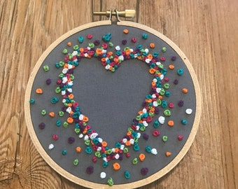 French Knot Negative Space - 4 Inch Embroidery Hoop